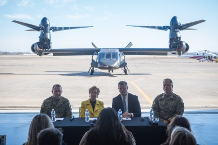 The Army secretary along with senior Army officials joined industry leaders last week to get a closer look at cutting-edge capabilities for future vertical lift ahead of the fiscal year 2030 goal to replace the UH-60 Black Hawk.