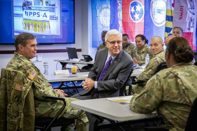James E. McPherson, center, nominee to become the Army's next under secretary, discusses the Integrated Personnel and Pay System-Army, or IPPS-A, with Soldiers during a briefing in Arlington, Va., Dec. 20, 2019. McPherson, who serves as the Army's general counsel, testified before the Senate Armed Services Committee during his confirmation hearing Jan. 16, 2020, in Washington, D.C.
