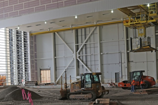 The Tulsa District, U.S. Army Corps of Engineers is overseeing the construction of the Air Force's KC-46 Pegasus Depot Campus. One hangar has been completed and turned over to the Air Force for use while several other buildings, including two hangars that will be used to apply corrosive preventive or corrective treatment are approximately 90 percent complete. The massive hangars include crane systems that are only manufactured in Europe.