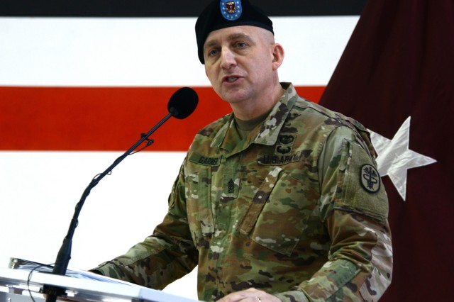 Command Sgt. Maj. Todd M. Garner, outgoing Regional Health Command Europe, Command Sgt. Maj., provides remarks during his Relinquishment of Responsibility Ceremony, January 14, 2020 at Sembach, Germany. (U.S. Army Photo by Elisabeth Paque)