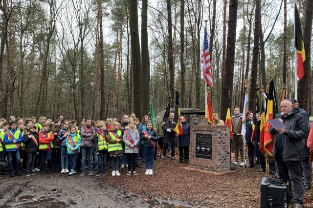 Children from local schools are present in large numbers on Jan. 10, 2020, for the commemoration of one of the major airfield battles of WWII in Zutendaal, Belgium.