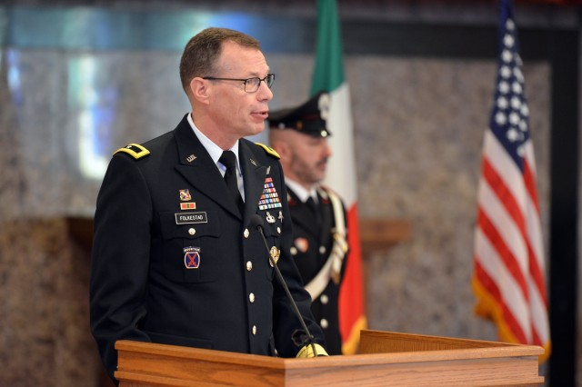 Brig. Gen. Eric Folkestad, U.S. Army Africa deputy commanding general, delivers his remarks during the Italian Base designation of responsibility ceremony at Caserma C. Ederle in Vicenza, Italy, January 16, 2020. (U.S. Army Photos by Paolo Bovo)