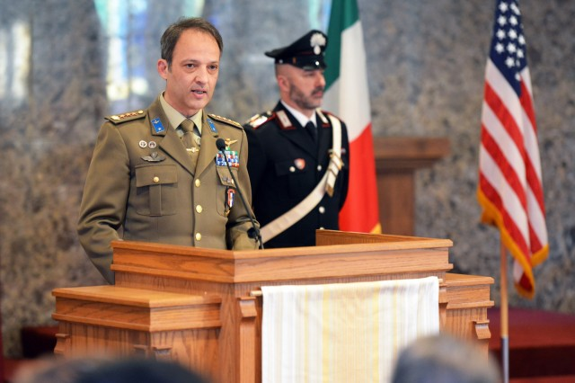 Italian Army Col. Umberto D'Andria, outgoing Deputy Chief of Staff of United States Army Africa and Senior Italian Officer, delivers his remarks during the Italian Base designation of responsibility ceremony at Caserma C. Ederle in Vicenza, Italy, January 16, 2020. (U.S. Army Photos by Paolo Bovo)