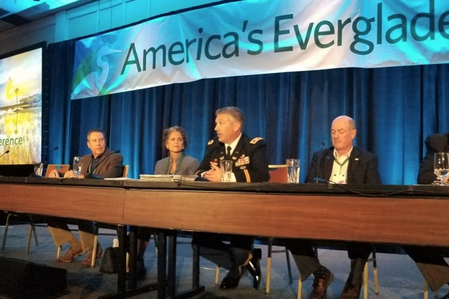 COL Andrew Kelly, U.S. Army Corps of Engineers Jacksonville District commander (center) joins a panel of Florida experts to discuss the management of Lake Okeechobee and its impacts on the Everglades during the 2020 Everglades Coalition Conference at Captiva Island, Florida. Panel members included (left to right) panel moderator Mark Perry, executive director of the Florida Oceanographic Society, Dr. Dale Gawlik, director of the environmental science program at Florida Atlantic University, Jacqui Thurlow-Lippisch, board member for the South Florida Water Management District, Kelly, Dr. Paul Gray, Everglades science coordinator for Audubon Florida, and Terry Burroughs, chairman of the Okeechobee Board of County Commissioners. The Corps of Engineers had several speakers at the 35th Annual Conference to engage with stakeholders and inform the public about projects the district is working in support of Everglades restoration. U.S. Army photo by Jim Yocum.