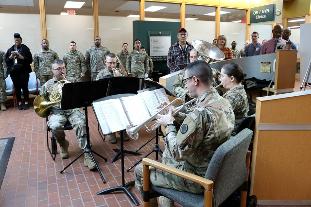 The 56th Army Band plays the Army song to close out a moving Martin Luther King, Jr. Day observance in the Medical Mall at Madigan Army Medical Center on Joint Base Lewis-McChord, Wash., on Jan. 16.