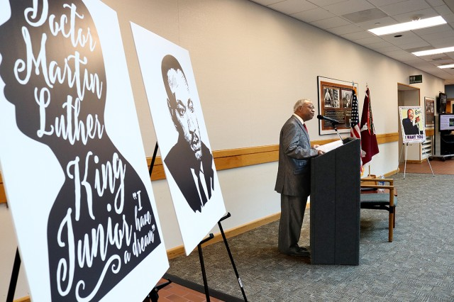 "Rev. Dr. John McClure, Jr. recites Dr. King's ""I Have a Dream"" speech at the Martin Luther King, Jr. Day observance in the Medical Mall at Madigan Army Medical Center on Joint Base Lewis-McChord, Wash., on Jan. 16."