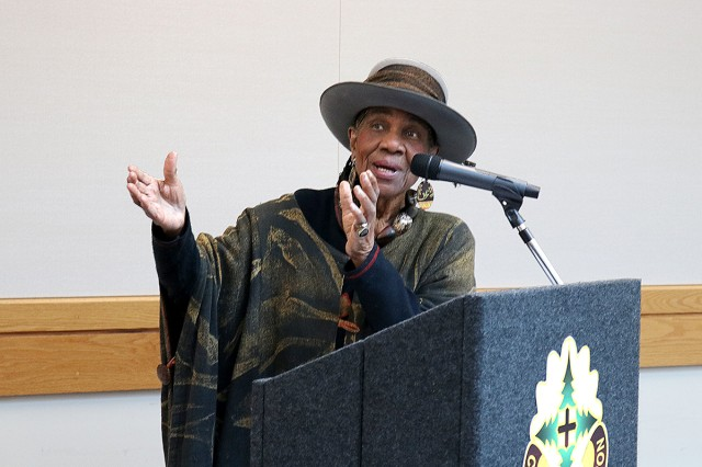 Dr. Maxine Mimms, an education professor, academic administrator and founder of the Tacoma campus of The Evergreen State College, answers a question from the crowd at the Martin Luther King, Jr. Day observance in the Medical Mall at Madigan Army Medical Center on Joint Base Lewis-McChord, Wash., on Jan. 16.