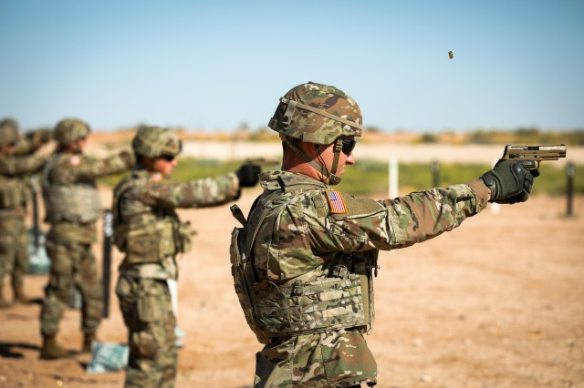 2nd Lt. Michael Preston, an armor officer assigned to the 3rd Armored Brigade Combat Team, 1st Armored Division (1AD), fires the newly adopted M17 pistol in October at McGregor Range, New Mexico. Getting more new capabilities fielded faster requires an acquisition workforce that's empowered to make decisions and take appropriate risks. (U.S. Army photo by Pvt. Matthew Marcellus, 1AD)