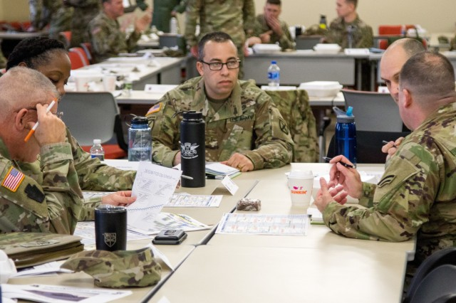 Leaders engage in small-group discussions during the Northeast Regional Partnership Conference, Jan. 15, 2020, at Fort Drum, N.Y. The purpose of the conference is to promote former Chief of Staff of the U.S. Army  Gen. Mark A. Milley's vision of a total Army conference, where Active Duty, National Guard, and Reserve units all work together to mutually benefit one another.