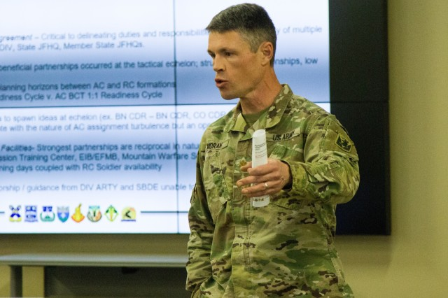 Maj Kenneth Moran, an exchange officer from the 10th Mountain Division to the 86th Infantry Brigade, discusses the importance of the Northeast Regional Partnership Conference, Jan. 15-16, 2020, at Fort Drum, N.Y. The purpose of the conference is to promote former Chief of Staff of the U.S. Army  Gen. Mark A. Milley's vision of a total Army conference, where Active Duty, National Guard, and Reserve units all work together to mutually benefit one another.