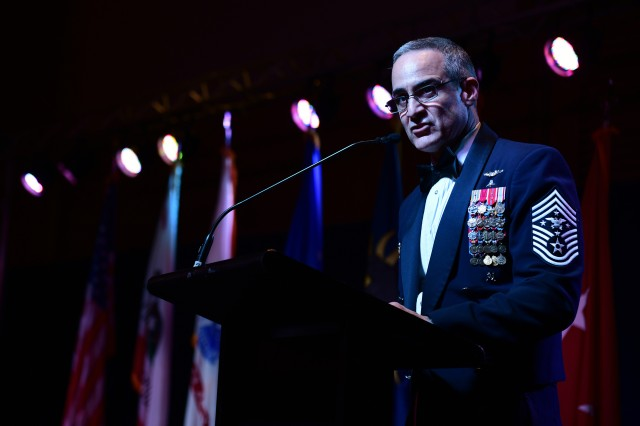 """Senior Enlisted Advisor to the Chairman of the Joint Chiefs of Staff Ramón """"CZ"""" Colón-López speaks during the California Military Department Service Member of the Year Banquet, Jan. 18, 2020, in San Diego. The banquet recognized the best-enlisted Soldiers, Airmen and Sailors in the California Army National Guard, California Air National Guard and California State Guard."""
