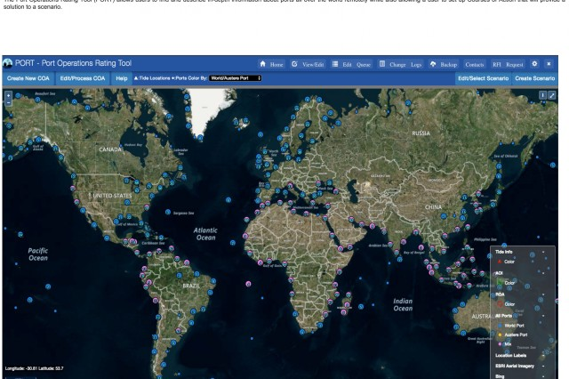 "Through its Port Operations Rating Tool (PORT), ERDC gives users comprehensive insight into approximately 6,000 ports worldwide. PORT is also the sole catalog of medium, small, extra small and fully austere (beach) sites, allowing planners and analysts to evaluate ""what if"" scenarios."