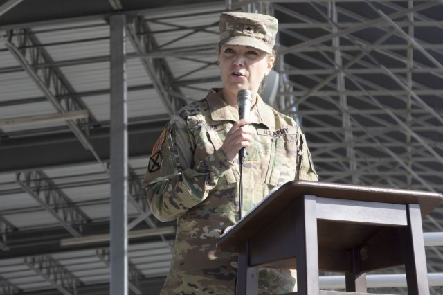 Brig. Gen. Pamela L. McGaha, commander of the 143rd Sustainment Command (Expeditionary), was the guest speaker during a deployment ceremony for the 207th Regional Support Group at Hilton Field on Fort Jackson, S.C., Oct. 26. The Soldiers of the support group will provide base operation to support Soldiers and coalition forces residing on the operating base.
