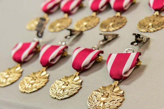 Meritorious Service Medals presented to the Army's top recruiters of the first quarter of fiscal year 2020 during a ceremony at the Pentagon's Hall of Heroes in Arlington, Va., Jan. 22, 2020.