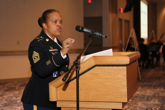 Sgt. Maj. Kimberly D. McGhaney-Reed, assigned to the U.S. Army Japan Inspector General Office, gives remarks as the keynote speaker at the Martin Luther King Jr. Day observance held Jan. 16 at the Camp Zama Community Club.