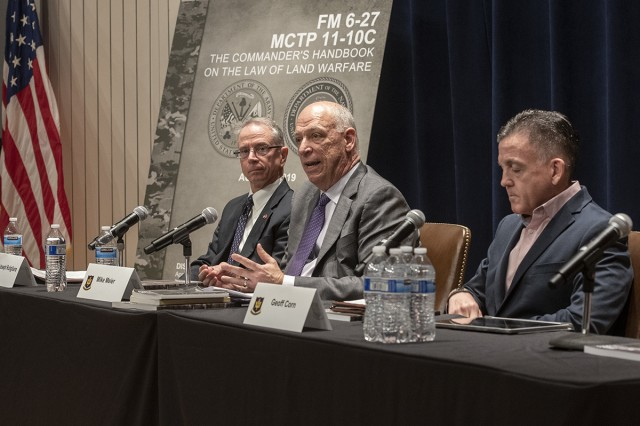 The FM 6-27 event at the Army JAG School included a distinguished panel of legal experts including: Mr. Joseph Rutigliano, Special Assistant for Law of War to the SJA to the Commandant of the Marine Corps; Mr. Mike Meier, Special Assistant for Law of War to The Judge Advocate General; and Prof. Geoff Corn, Professor of Law at South Texas College of Law Houston.