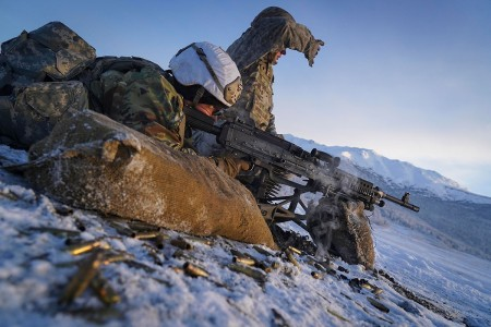 U.S. Army Soldiers conduct a live-fire qualification at Joint Base Elmendorf-Richardson, Alaska, Dec. 5, 2019.
