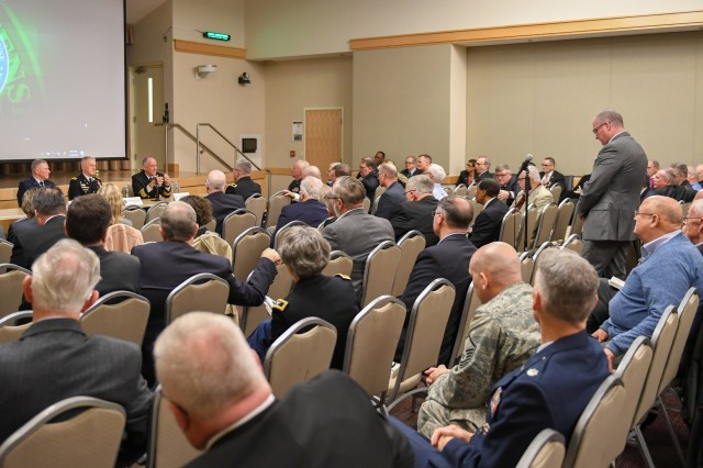 The chiefs of chaplains of the U.S. military services: Air Force Maj. Gen. Steven Schaick, Army Maj. Gen. Thomas Solhjem, and Navy Rear Adm. Brent Scott, speak to ecclesiastical endorsers during the Armed Forces Chaplains Board Endorsers Conference in Arlington, Va., Jan. 16, 2020.