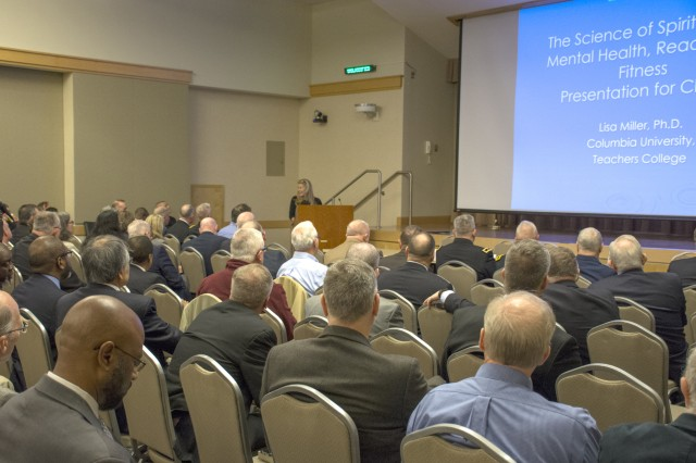 "Dr. Lisa Miller, a professor of psychology and education at Columbia University, Teachers College, describes her innovative research that shows a scientific link between spirituality and health, during the Armed Forces Chaplains Board Endorsers Conference in Arlington, Va., Jan. 16, 2020. ""The spiritual core is the chief asset for resilience, prevention and treatment, decision making, relational ethics and fitness."""