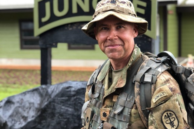 Lt. Col. John Stephenson wearing the 25th Infantry Division Jungle Operations Training Course tab on his left shoulder after graduating the five-day executive course Dec. 19 at Schofield Barracks.