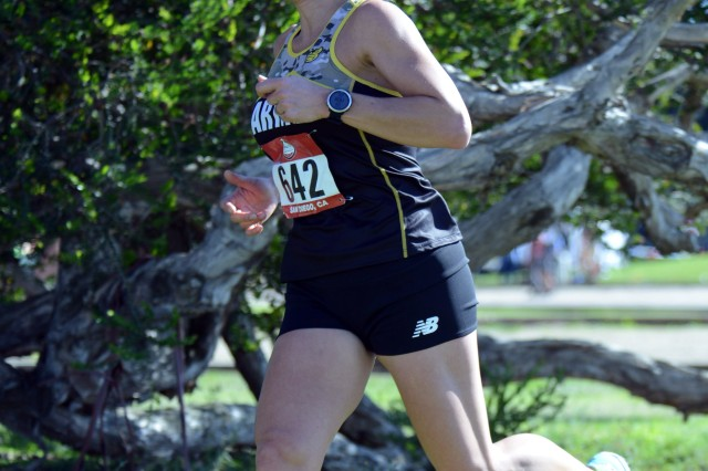 Sgt. Esther Spradling of Fort Bragg, N.C., runs the Armed Forces Cross Country Championship at Mission Bay Park in San Diego, Jan. 18, 2020.