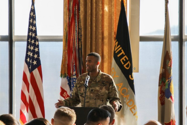 Lt. Col. Winston Williams, assistant professor in the law department at the U.S. Military Academy,  delivers a speech in honor of Martin Luther King Jr. at the MLK Day Observance held Jan. 15 at the West Point Club Ball Room.