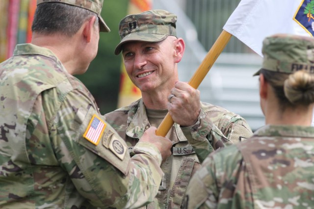 Capt. Shawn Pierce accepts the guidon during a company change of command ceremony June 7, 2019, on Joint Base Myer-Henderson Hall's Summerall Field. The latest assignment cycle for the Army Talent Alignment Process saw nearly all eligible officers and units participate as part of an effort to better manage talent. The figures showed that 95% of the more than 14,000 active-duty officers put preferences down for their next position, while 98% of units placed preferences for their vacancies.