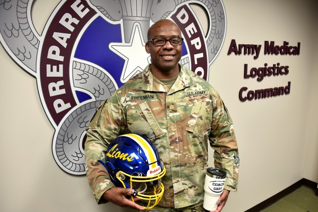 Maj. Gary Freeman Jr., who serves as a volunteer coach for a local youth football team, is pictured at Army Medical Logistics Command headquarters at Fort Detrick, Md., on Jan. 10, 2020.