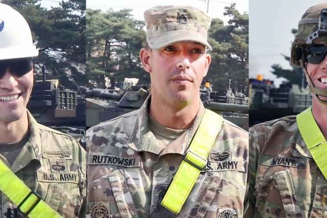 (from left) Capt. Brandon Sharp, Sgt. 1st Class Ryan Rutkowski, 2nd Lt. Dillon Wyant