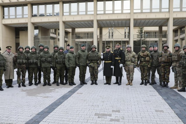 At the conclusion of a national parade celebrating the 101st anniversary of the restored Lithuanian Armed Forces, leadership with all of the participating countries pose together for a group photo on Nov 23, 2019. Atlantic Resolve is a demonstration of continued U.S. commitment to the collective security of NATO and to enduring peace and stability in the region. (U.S. Army photo by Staff Sgt. Greg Stevens)
