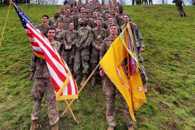 Soldiers from the 1st Battalion, 9th Cavalry Regiment, 2nd Armored Brigade Combat Team, 1st Cavalry Division, pose for a photo after completing the Road of Life and Death tribute run. Service members from the 1-9 CAV joined Lithuanian Soldiers and civilians in the annual Road of Life and Death tribute run on January 11, 2020, in Vilnius, Lithuania. (U.S. Army Photo by Capt. James Shoop)