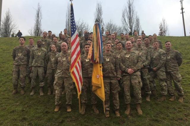 Soldiers from the 1st Battalion, 9th Cavalry Regiment, 2nd Armored Brigade Combat Team, 1st Cavalry Division, pose for a photo after completing the Road of Life and Death tribute run. Service members from 1-9 CAV joined Lithuanian Soldiers and civilians in the annual Road of Life and Death tribute run on January 11, 2020, in Vilnius, Lithuania. (U.S. Army Photo by Capt. James Shoop)