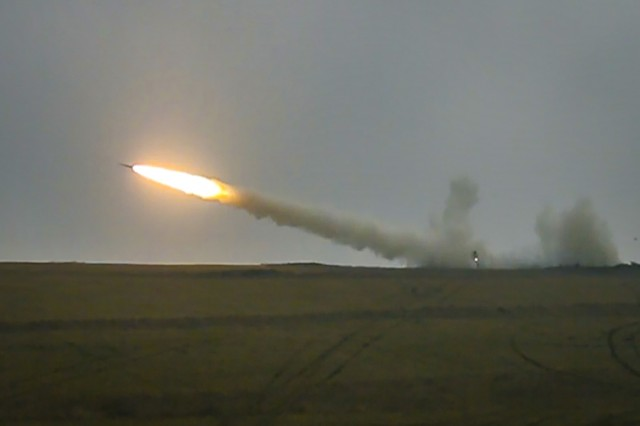 A M270A1 Multiple Launch Rocket System fires a reduced range practice rocket during a live-fire exercise January 27, 2020, Grafenwoehr, Germany. This is the first live-fire exercise from a European based unit since 2004.