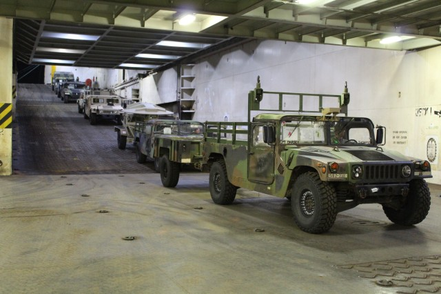 Military vehicles await their turn for loading during port operations on the M/V Cape Hudson at Pearl Harbor on Jan. 21.