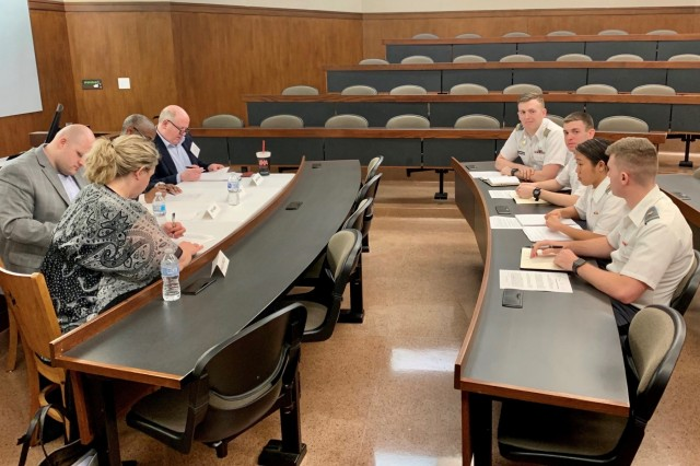 Members of Team Black Jacks of the West Point Cyber Policy Team make their policy recommendations to the judges during the Atlantic Council's Cyber 9/12 Student Strategy Challenge at the University of Texas at Austin Law School Jan. 16-17.