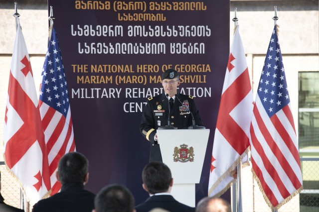 North Atlantic Division Commander Maj. Gen. Milhorn delivers remarks during a ribbon cutting ceremony Jan. 27 for Wounded Warrior and Rehabilitation Center for Georgian soldiers in Tserovani, Georgia.