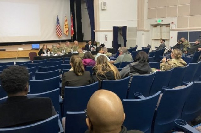Fort Meade residents gather at the Post Theater for a town hall meeting focusing on the housing crisis and improvements being made by the Army, January 21, 2020. The panel included garrison and Army leaders and Corvias staffers.