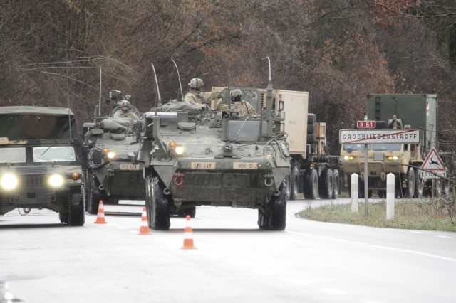U.S. Army Strykers with 1st Squadron, 2d Cavalry Regiment, cross the border from Germany into Grosbliederstroff, France, Jan 31, 2020, for the Kriegsadler II exercise. Kreigsadler II is an exercise led by 2CR designed to improve the integration of multinational combat forces. (U.S. Army photo by Capt. Billy Lacroix)