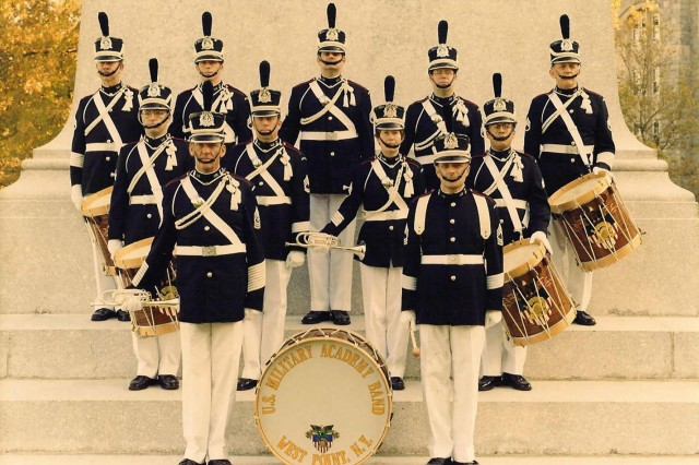 Clay Beard, center left, a former U.S. Army bugler who performed with the West Point Band for over 28 years, is pictured in an official promotional photo in 1997. (Photo courtesy Clay Beard)