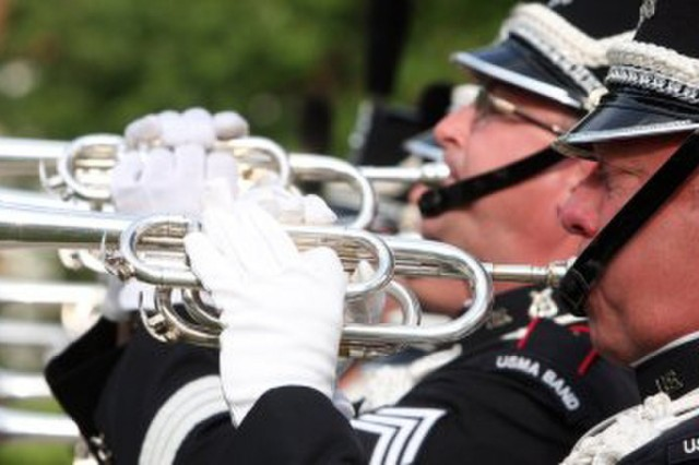 In this undated photo, Clay Beard, foreground, performs with the West Point Band at the Great American Brass Band Festival in Danville, Ky. (Photo courtesy Clay Beard)