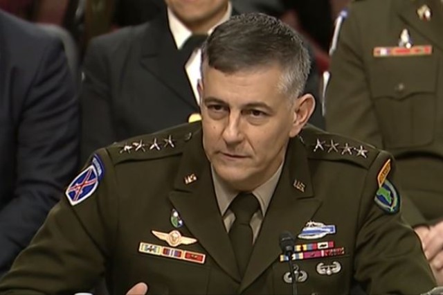 Army Gen. Stephen J. Townsend, commander, U.S. Africa Command, testifies before the Senate Armed Services Committee in Washington, Jan. 30, 2020.