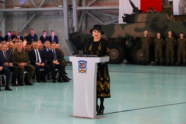 The U.S. Ambassador to Poland, Georgette Mosbacher, addresses the attendees of the Defender Europe 20 strategic planning workshop in Warsaw, Poland, on Jan. 30, 2020. Defender Europe 20 is the largest deployment of U.S.-based forces to Europe for an exercise in more than 25 years.
