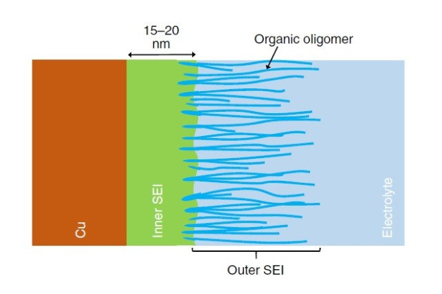 The solid-electrolyte-interphase can be divided into two parts: an inner SEI and an outer SEI. The inner SEI is continuous, dense and impermeable to electrolytes, and it is most probably composed of Li2O. The outer SEI is mainly composed of loose organic oligomers that result from the degradation of solvent molecules. The loose outer SEI is permeable to electrolytes.