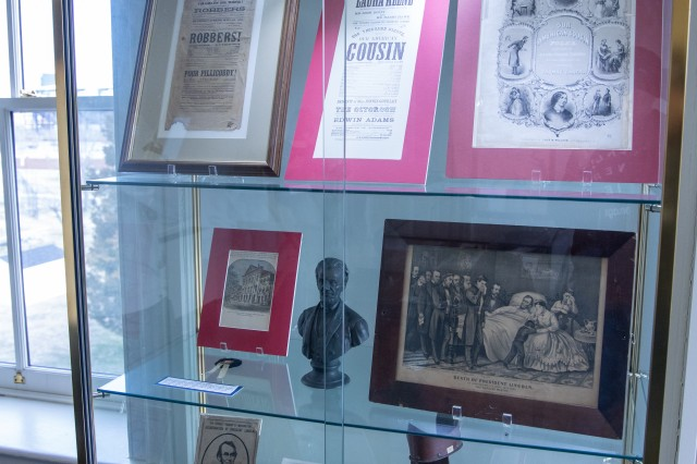 Artifacts, newspaper clippings and hand-draw images of the trial are on display inside the Grant Hall courtroom, Fort McNair, Washington, D.C., February 1, 2020.