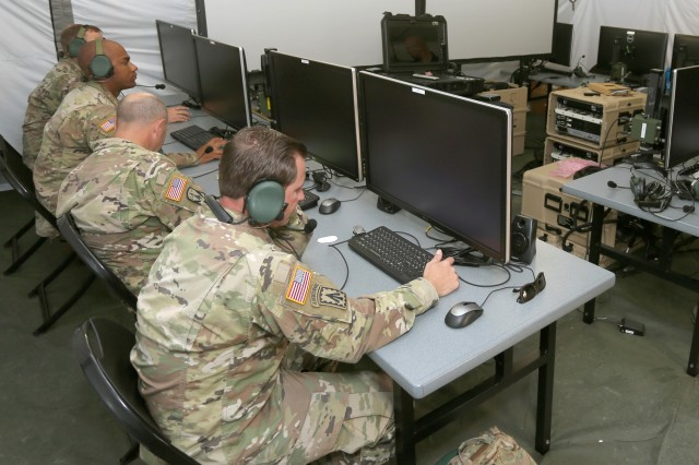 Soldiers help conduct a successful test of the Integrated Air and Missile Defense Battle Command System, or IBCS, at White Sands Missile Range, N.M., Dec. 12, 2019. IBCS, which is software that links air and missile defense launchers with sensors across a battlespace, allowed Soldiers to destroy two incoming target cruise missiles. The goal is to field the system to a Patriot battalion in fiscal year 2022.