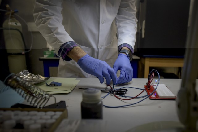 Dr. Arthur Cresce, U.S. Army Research Laboratory material scientist, demonstrates advanced battery technology on Feb. 4, 2020, at the U.S. Army - Adelphi Laboratory Center in Adelphi, Maryland.