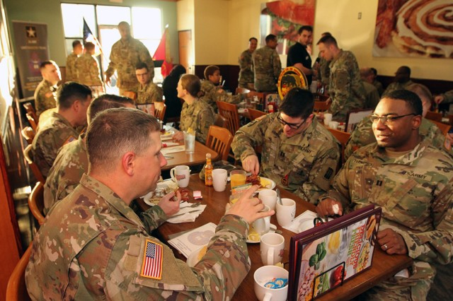 About 60 Soldiers and civilians from 2-6th ADA attended the the unit's prayer breakfast Jan. 31, 2020, at Jimmy's Egg restaurant's meeting room in Lawton.