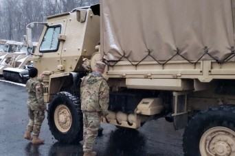 Virginia National Guard Soldiers staged and ready