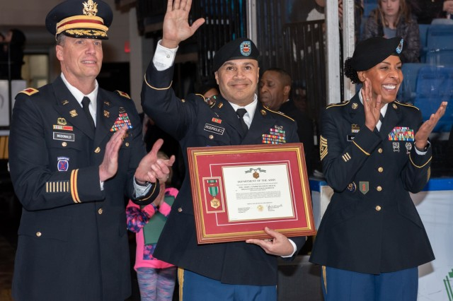 Sgt. 1st Class Samuel Rodriguez was named Tobyhanna Army Depot's Warfighter of the Quarter for the first quarter of 2020 during a ceremony at the Wilkes-Barre/Scranton Penguins hockey military appreciation event on Feb. 8.