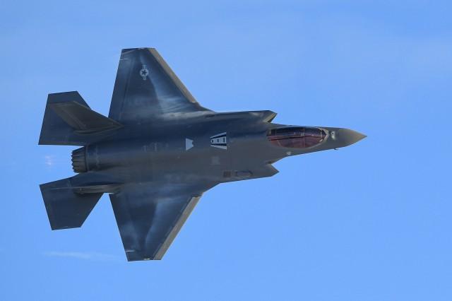 An F-35A Lightning II joint strike fighter flies over Hill Air Force Base, Utah, Jan. 10, 2020.